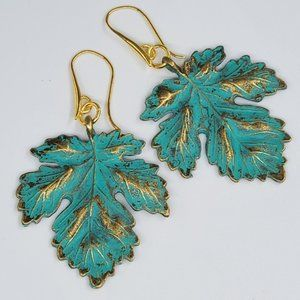 Golden Earrings Autumn Leaves Anthro Jewelry